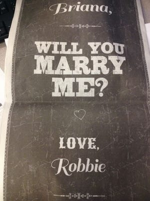 Rob Schwertly placed an ad in The Seattle Times to propose to his girlfriend.