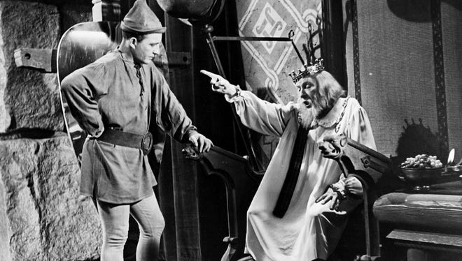 Bing Crosby and Sir Cedric Hardwicke in a scene from the 1949 motion picture A Connecticut Yankee in King Arthur's Court. A total solar eclipse was a plot device in the movie.