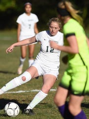 Spackenkill's Eileen Fiore dribbles against Rhinebeck defense in a game on Oct. 6, 2016.