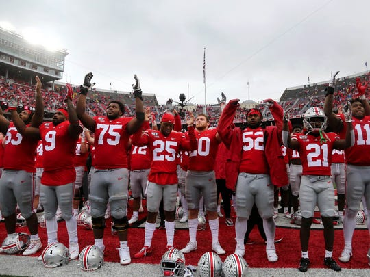 Oct 26, 2019; Columbus, OH, USA; The Ohio State Buckeyes celebrates with fans after the game against the Wisconsin Badgers at Ohio Stadium. Mandatory Credit: Joe Maiorana-USA TODAY Sports