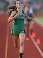 Fort Myers runner Krissy Gear smiles as she finishes first in the 1600 meter run at the 3A Region 3 meet Thursday.