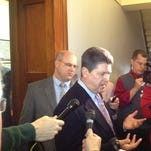 Speaker of the House Greg Stumbo updates the press Tuesday morning in Frankfort