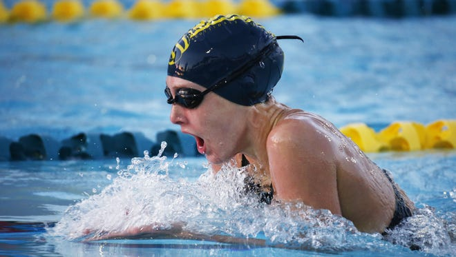 Taylor Ruck swims in the Women's 400 Individual Medley final at the Arena Pro Swim Series on Thursday, April 16, 2015 at Skyline Aquatic Center in Mesa, AZ.