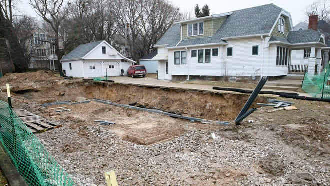 Skull and bone fragments were found during a basement excavation Friday at this site in the 1700 block of Underwood Ave. in Wauwatosa.