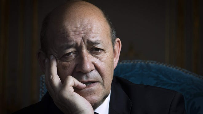 This file photo taken on April 3, 2014 at the Ministry of Defence in Paris shows French Defence Minister Jean-Yves Le Drian.