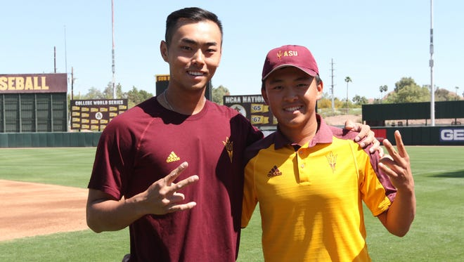 Baseball player Lyle Lin, right, and golfer Chun An Yu are from Taiwan and already excelling as Arizona State freshmen.
