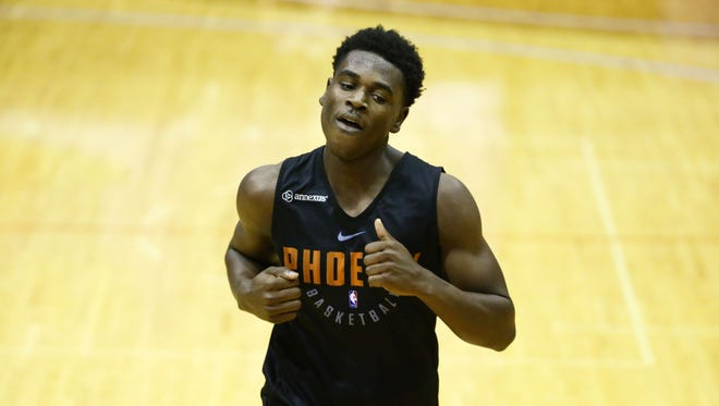 UCLA junior guard Aaron Holiday during the Phoenix Suns pre-draft workout on May 28, 2018 at Talking Stick Resort Arena in Phoenix, Ariz.