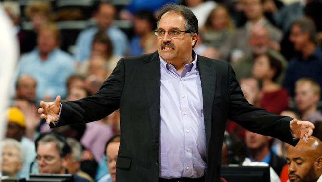 Detroit Pistons coach Stan Van Gundy directs his team against the Denver Nuggets on Wednesday, Oct. 29, 2014.