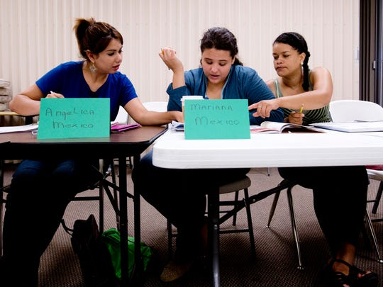 From left, Angelica Gonzalez, Mariana Guzman and Irene Lozano learn English at the Literacy Council Gulf Coast in Bonita Springs. The council will offer English instruction to more than 4,000 people in 2014.