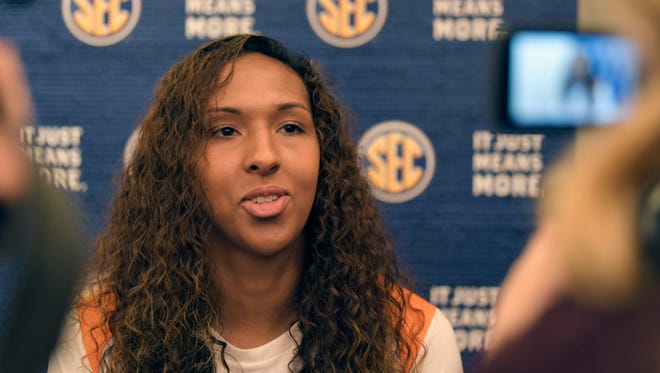 Tennessee player Mercedes Russell talks to the media during the 2017-18 SEC Women's Basketball Media Day at the Omni Hotel in Nashville on Thursday, Oct. 19, 2017.