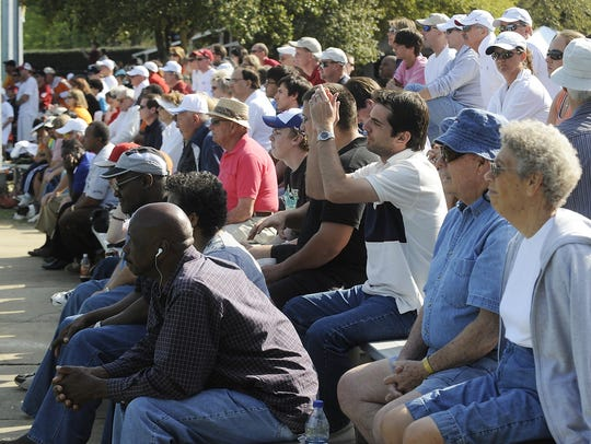 Crowds watch the finals of the Blue Gray Tennis Classic