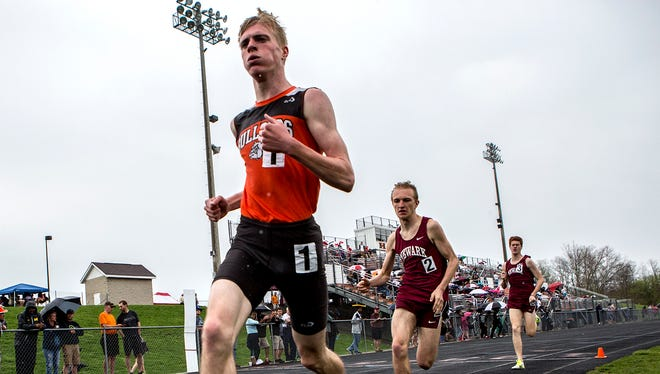 Taylor Hopkins of Heath placed first in the 1600 meter run at the Hank Smith Invitational Saturday, while Owen Keith and Jacob Todd of Newark placed second and third respectively.