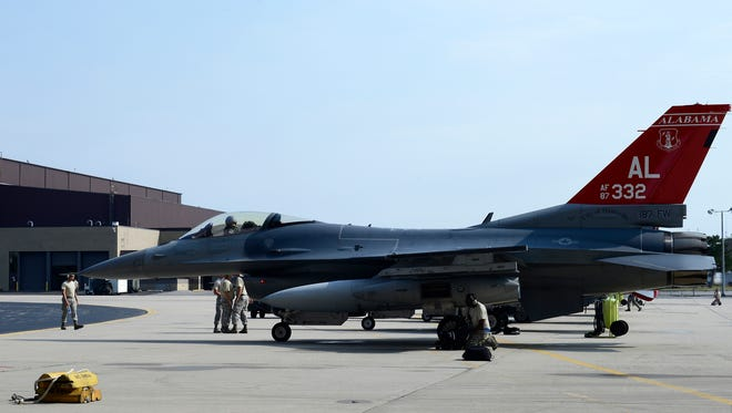 An F-16 jet of the Fighting Falcons from the 100th Fighter Squadron is seen at Stewart Air Force Base in New Windsor Saturday.