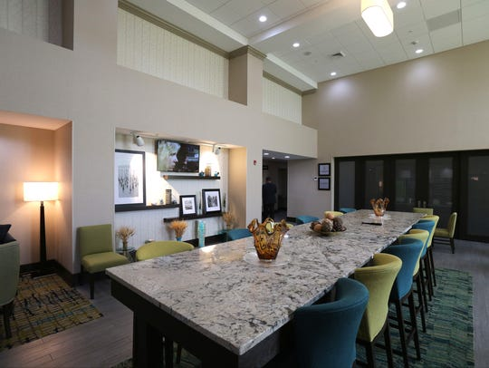 The breakfast room at the new Hampton Inn & Suites