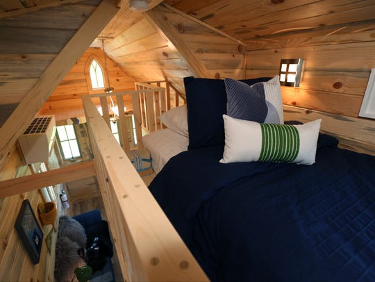 The interior of the tiny home rental the Boo-Boo, at