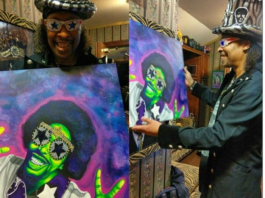 Bootsy Collins holds up portrait of him by Jessi Jumanji