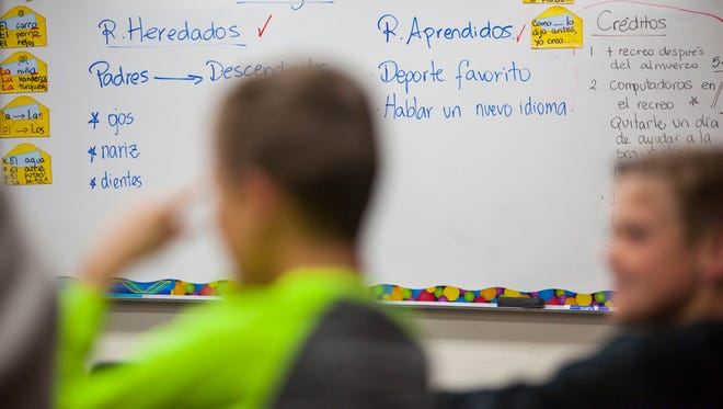 Students participate in a dual immersion class at East Elementary in Cedar City, Tuesday, Mar. 28, 2017.