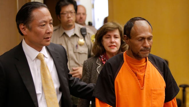 Juan Francisco Lopez-Sanchez enters court for an arraignment with San Francisco public defender Jeff Adachi  on July 7, 2015 in San Francisco, Calif. Lopez-Sanchez plead not guilty to charges that he shot and killed 32 year-old Kathryn Steinle as she walked on Pier 14 in San Francisco with her father.