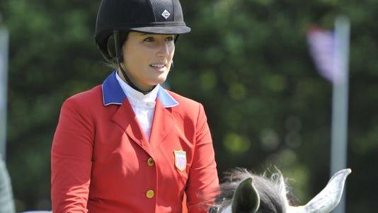 Jessica Springsteen, daughter of Bruce Springsteen and Patti Scialfa, during the Speed Stakes International Competition 1 at the Dublin Horse Show in Ireland on August 6.