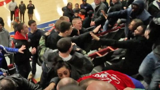 Screen Grab from video of a scuffle that broke out following Mount Vernon's 43-40 victory over Mahopac in the Class AA boys basketball semifinal game at the Westchester County Center in White Plains Feb. 27, 2014.(Photo: Frank Becerra Jr./The Journal News)