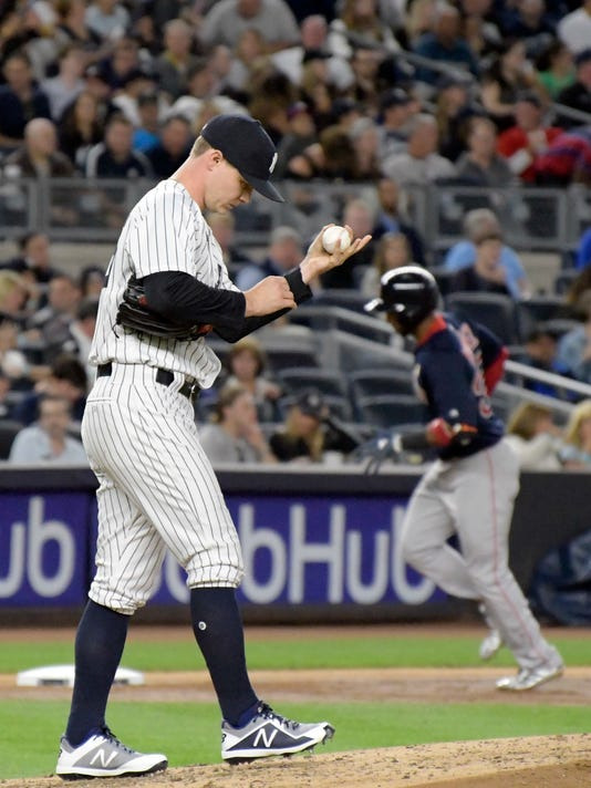 New York Yankees pitcher Sonny Gray, left, reacts as Boston Red Sox's Eduardo Nunez rounds the bases with a two-run home run during the third inning of a baseball game Friday, Sept.1, 2017, at Yankee Stadium in New York. (AP Photo/Bill Kostroun)