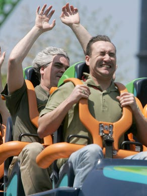 2005: Riders feel the G-forces as their faces distort as they launch on Kingda Ka at Six Flags Great Adventure.