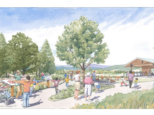 This watercolor rendition shows what the Ankeny Hill Nature Center could look like. They are early, artist rendered design options. The project could look much different.