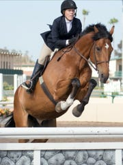 Stephanie Sage competes in show jumping competition.