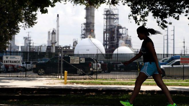 Outside a Valero refinery in Houston.