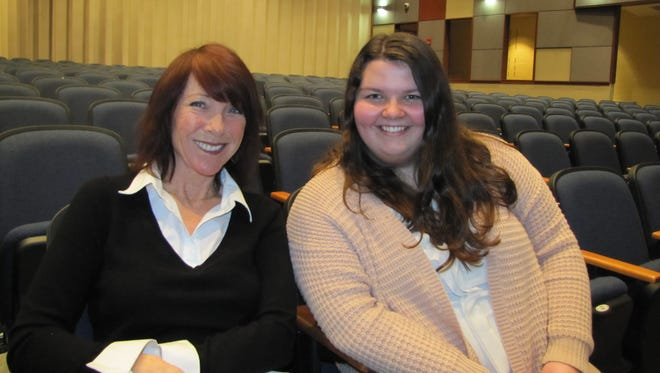 Cape Henlopen High School senior Alli Payne, right, pictured with Cape theater teacher Martha Pfeiffer, will attend the National Shakespeare Competition in New York in April.