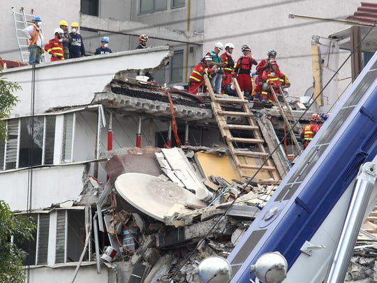 Rescue brigades continue the search of victims among collapsed buildings in Mexico City, Mexico on Sept. 24, 2017.