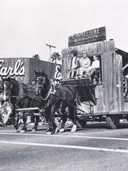 The Cavalliere Blacksmith Shop featured family members on its horse-drawn float in Scottsdale's Parada del Sol parade sometime in the 1960s.