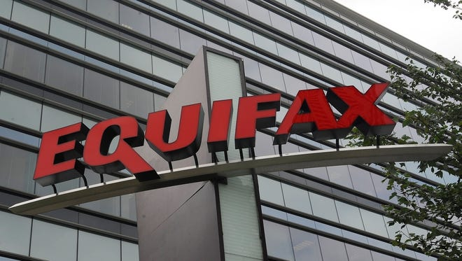 Signage is seen at the corporate headquarters of Equifax Inc. in Atlanta.