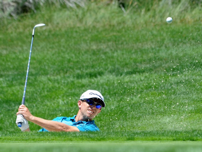 Tim Wilkinson of New Zealand comes out of the bunker on 17 during the opening round of the 2014 Barracuda Championship Thursday at Montreux. He finished with a Stableford score of 16.