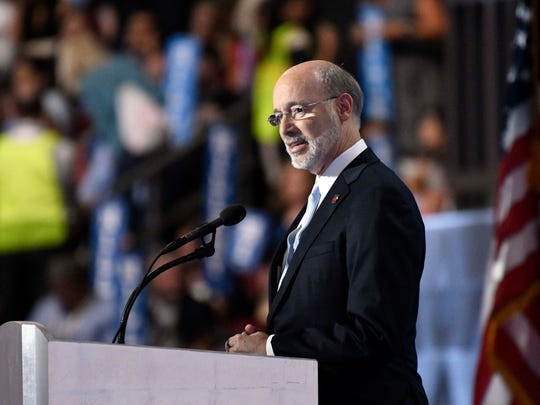 Pennsylvania Gov. Tom Wolf speaks during the 2016 Democratic National Convention at Wells Fargo Center.