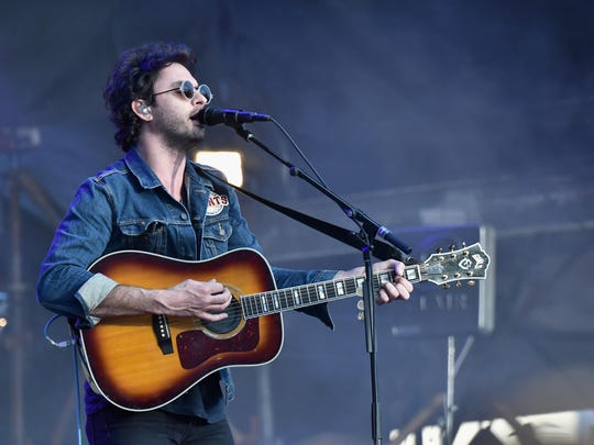 Singer Jonathan Russell of The Head and the Heart performs at the AT&T Block Party during the NCAA March Madness Festival at Margaret T. Hance Park on March 31 in Phoenix, Arizona.