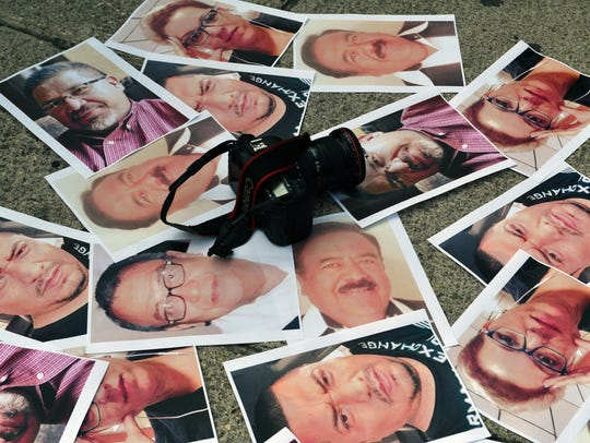Protesta contra muertes de periodistas en México.