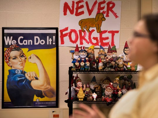 Castle High School U.S. History teacher Emily Garrett has a wide variety of interesting displays in her class, including a collection of gnomes.