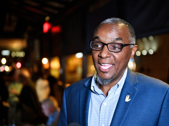 Jeff obafemi carr is happy as he talks to the media after finding out the transit vote failed at t NoTax4Tracks anti-transit event at Il Mulino inside the downtown Hilton Hotel  Tuesday May 1, 2018, in Nashville, Tenn.