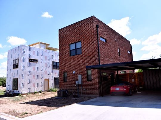 The west side of two new homes at N. 7th and Orange streets June 21.