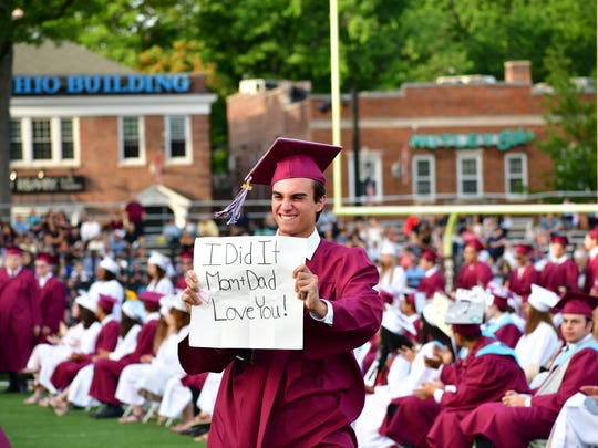 Graduates on the field at Nutley High School in Nutley on Tuesday evening June 26, 2018.