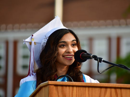 Saira J. Somnay, Salutatory Address. Graduates on the field at Nutley High School in Nutley on Tuesday evening June 26, 2018.