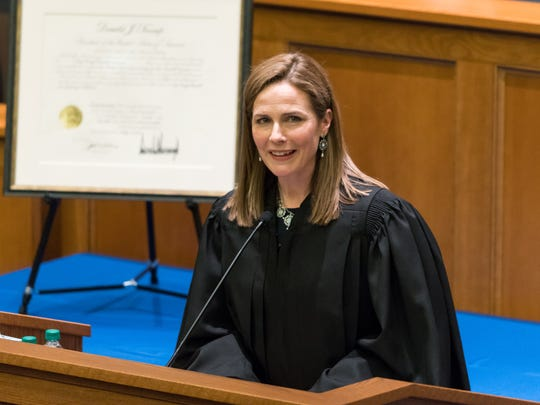 Amy Coney Barrett speaks at her investiture as a judge for the U.S. Court of Appeals for the Seventh Circuit at The University of Notre Dame Law School on Feb. 23, 2018.