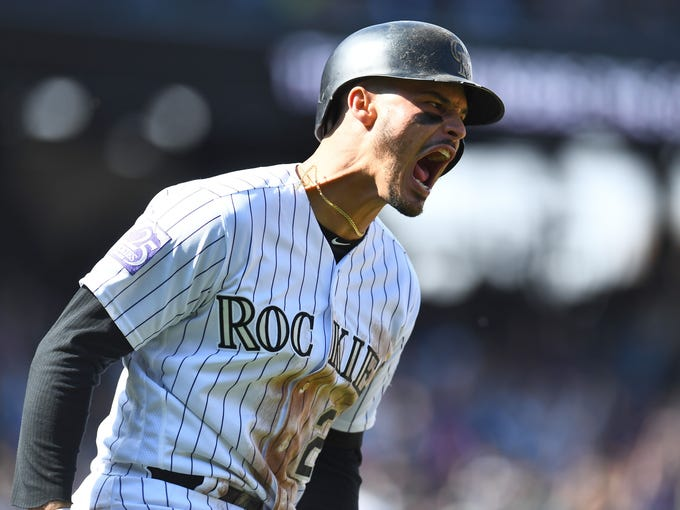 Sept. 30: The Colorado Rockies' Nolan Arenado reacts
