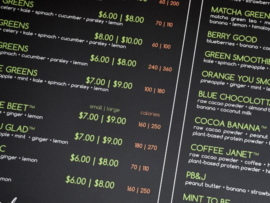 I Love Juice Bar's menu shows the calorie counts for each item.