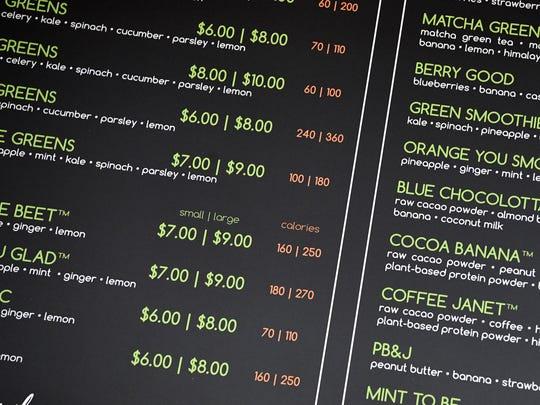 I Love Juice Bar's menu shows the calorie counts for each item.