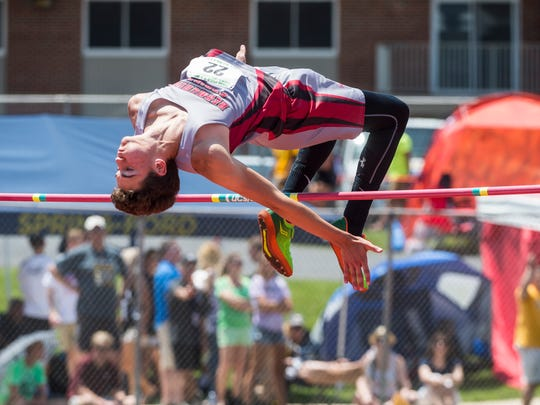 Bermudian Springs' Kolt Byers competes in the 2A high jump during the PIAA track and field championships at Shippensburg University on Friday, May 25, 2018.