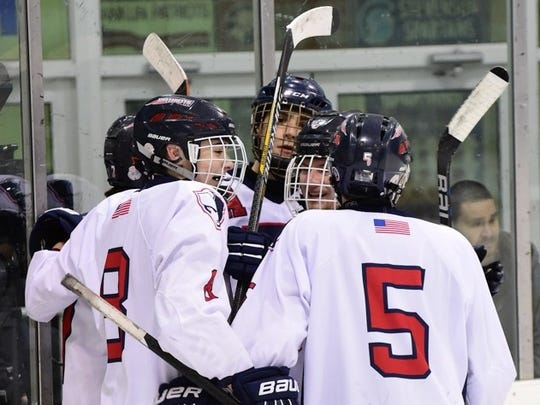Franklin players celebrate after one of their five goals Wednesday night.