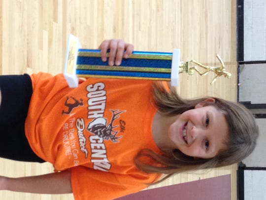 Zoe Mellott, of McConnellsburg, won the U8 girls championship at the Pa. State Elks Soccer Shoot Championship.