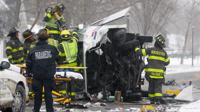 Three people, two with serious injuries, were taken to an area hospital after a three-vehicle crash at South Winton Road and Highland Avenue in in Rochester on Wednesday.